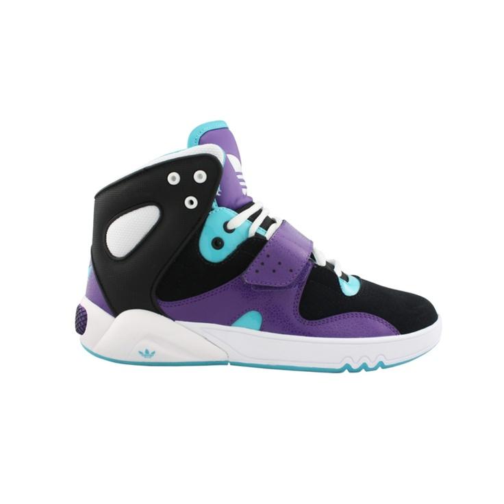 womens adidas roundhouse athletic shoe- black purple turquouis
