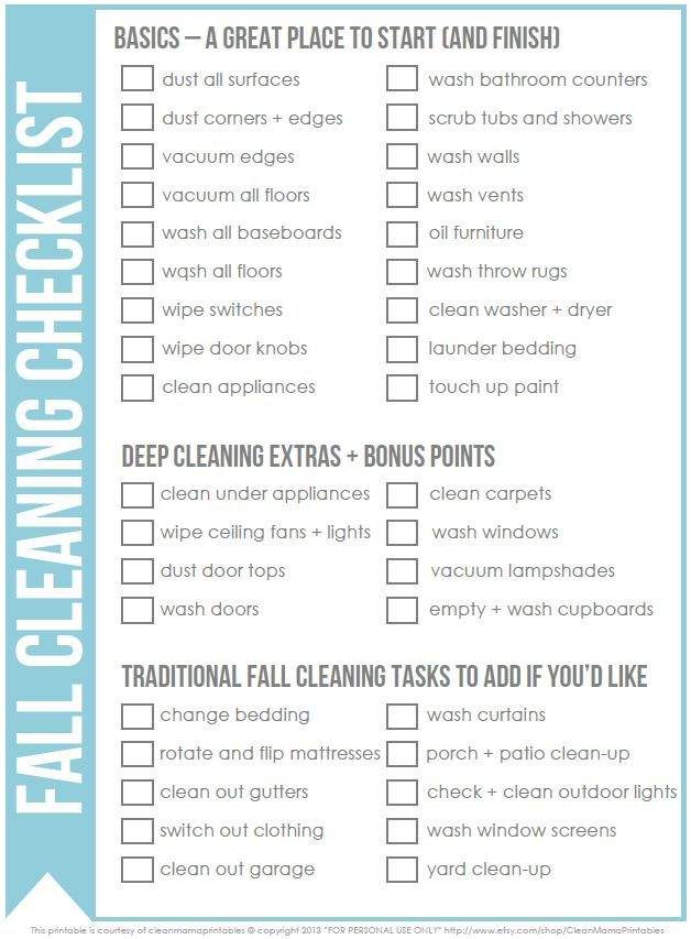 Free fall cleaning checklist by Clean Mama