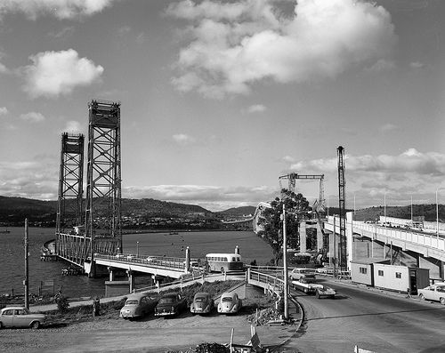 View of Tasman Bridge under construction with Hobart Pontoon bridge still in place (1964) | by Tasmanian Archive and Heritage Office Commons