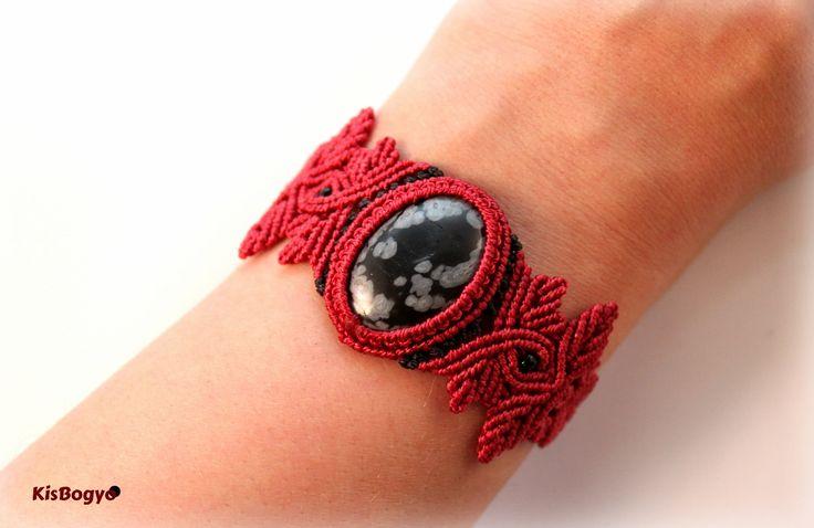 Red macrame bracelet with snowflake obsidian stone