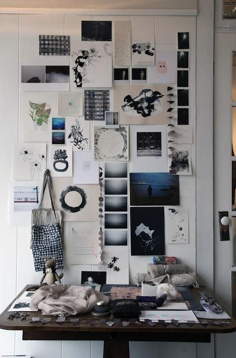 Artists's mood board as wall art. Great example that you don't need sophisticated presentation or framing to create beautiful wall art.