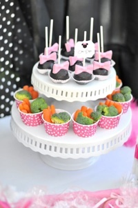 Minnie Mouse Cooking Party cute idea to put veggies in cups to coordinate with the party and offer healthy options (a little ranch dip in the bottom!) summerspastryperfect.com