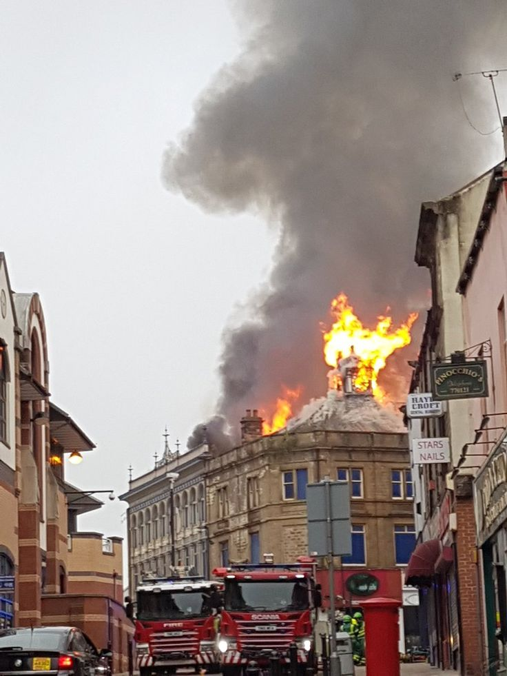 old Co-op & Hedonism building on fire in Barnsley!