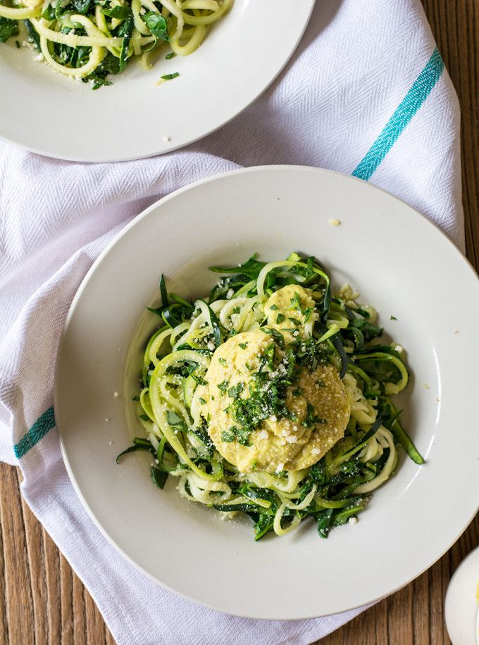 Zucchini Fettuccine and Cauliflower Alfredo