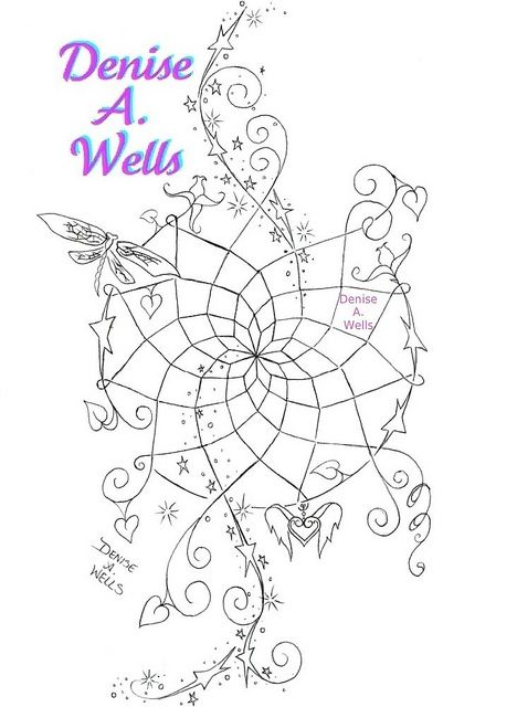 """""""Dream Magic"""" Tattoo Design  A unique dreamcatcher design including flowers, dragonfly, stars and stardust, and a winged heart charm...... More of my dreamcatchers can be seen if you Google my name and select Images.    I have been designing tattoos for For people who love getting inked and want inspiration & tattoo ideas for their future tattoos."""