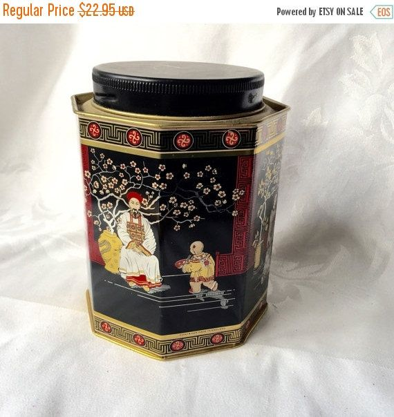 Black Asian Tin Japanese theme Vintage Tin Tall Tin by StudioVintage on Etsy