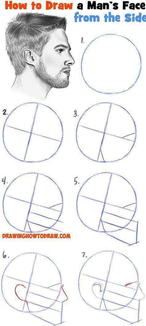 Erfahren Sie, wie Sie ein Gesicht aus der Seitenprofilansicht zeichnen (männlich / mann). – #aus #der #draw #ein #Erfahren