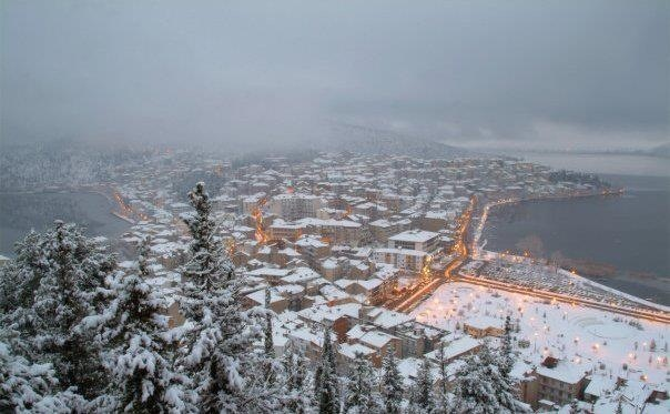 Winter. Kastoria, Greece. Aerial view.