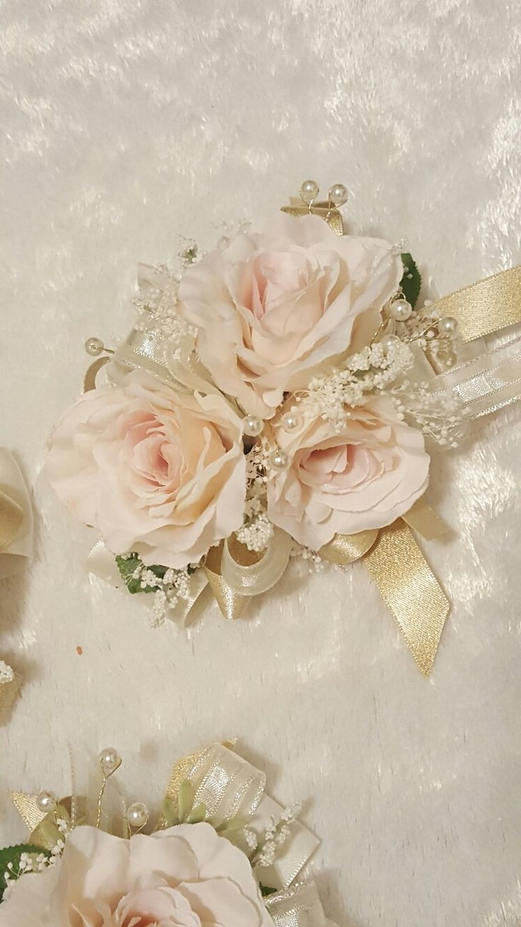Blush pink, ivory and gold wedding corsage from Hen House Designs www.henhousedesigns.net