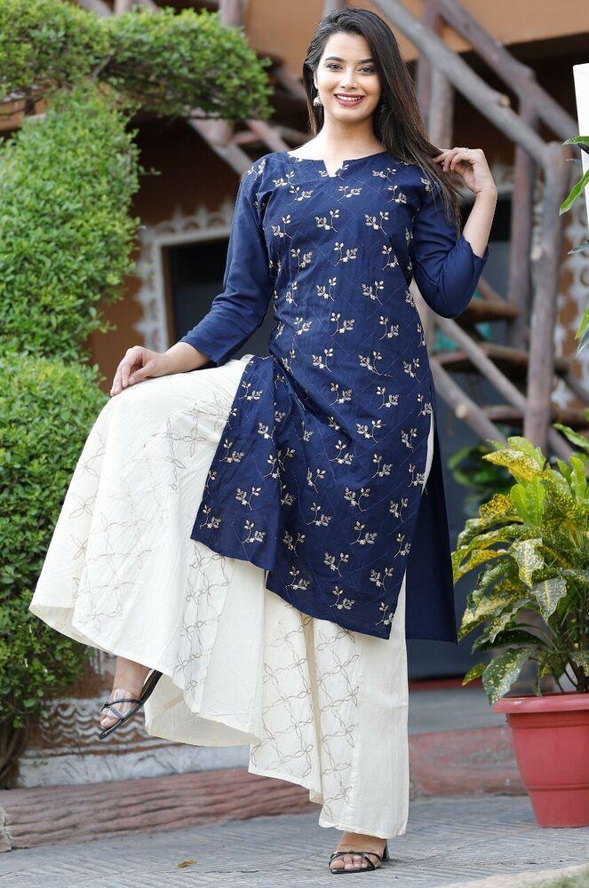 Women Indian Ethnic Sharara Kurta Chanderi Dupatta Readymade Palazzo Kurta Dress Maroon-White Kurti