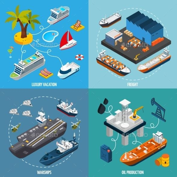 Ships Boats 4 Isometric Icons Square. Vector illustration EPS