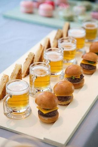 Mini burgers and beers for a summer wedding reception via arturszods   Visit wedding-venues.co.uk