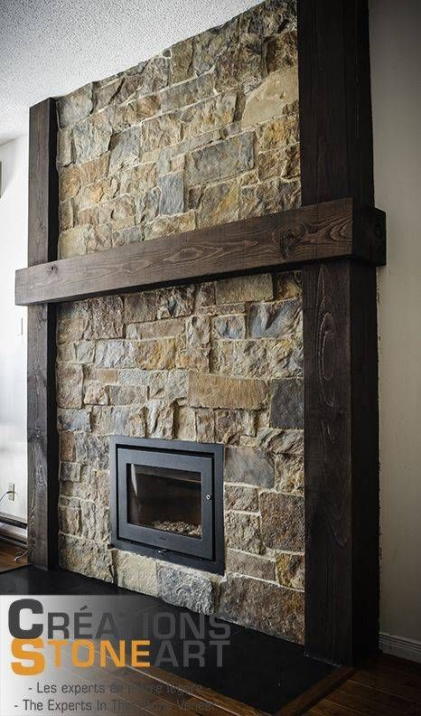 Fireplace Done With Kiamichi Natural Thin Stone Veneer For Amazing Rock Tile
