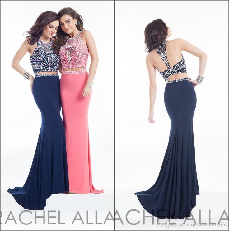 Two Pieces 2016 Sexy New Navy Blue Jersey Mermaid Prom Dresses Beaded Rhinestones Top Floor Length Evening Dresses Prom Dresses Toronto Sexy Prom Dress From Enjoyweddinglife, $135.08| Dhgate.Com