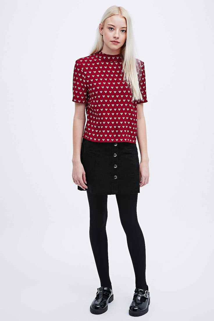 Cooperative Heart Print Funnel Neck Top in Burgundy