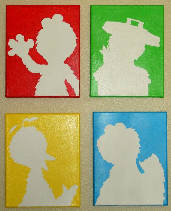 Sesame Street Handpainted Silhouettes by PaintedSilhouettes, $40.00 custom paintings nursery decor kids child room