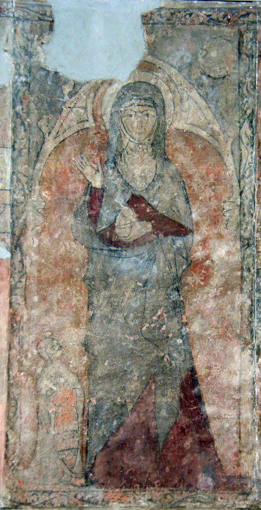 - Santa María Magdalena sosteniendo el huevo de Pascua y un donante a sus pies. Primera mitad del siglo XIV. Pintura al fresco del Convento de San Pablo de Peñafiel (Valladolid, Spain).