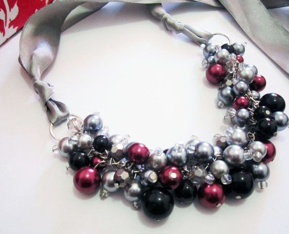 Chunky Cluster Pearl Necklace in grey black and by SLDesignsHBJ, $24.00