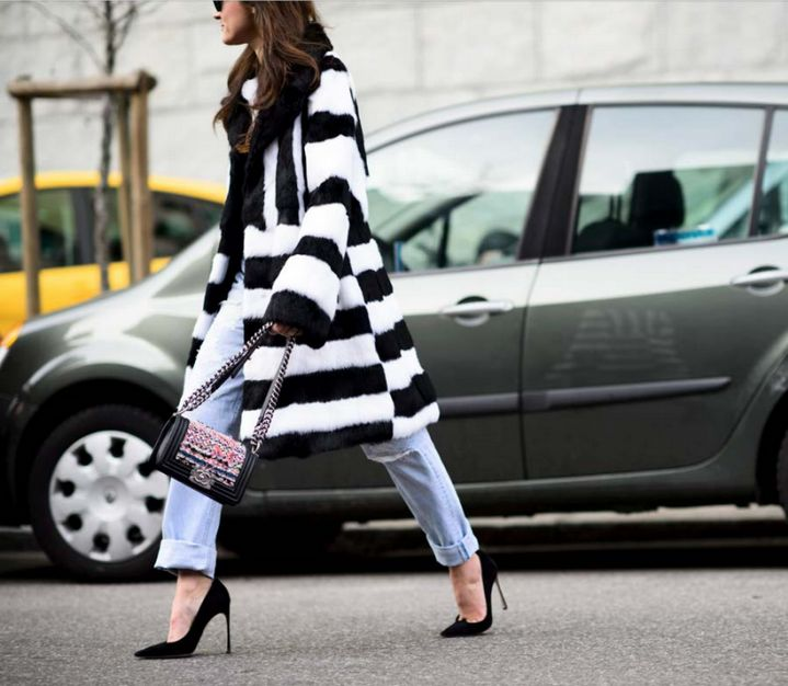 stripes + Chanel. #EleonoraCarisi in Milan.
