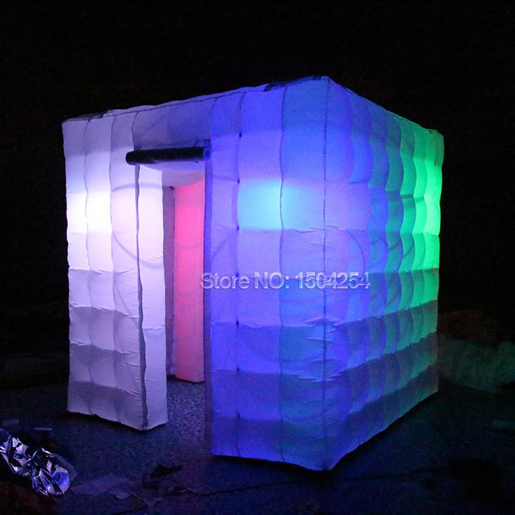 2 doors inflatable photobooth tent with led lighting/rental business inflatable photo booth colorful room toy tent