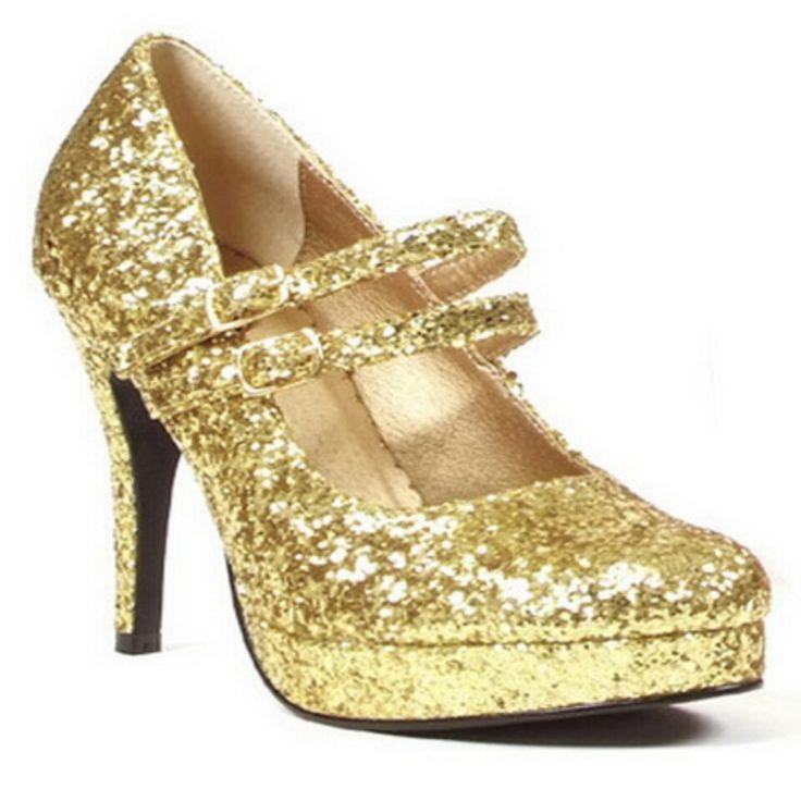 zapato de purpurina dorada