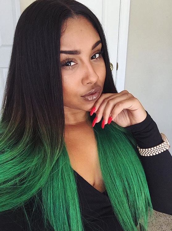 black girl in colorful hair | colored hair | green hair | ombre hair