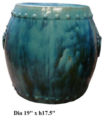 Chinese Drum Turquoise Green Clay Garden Stool asian ottomans and cubes