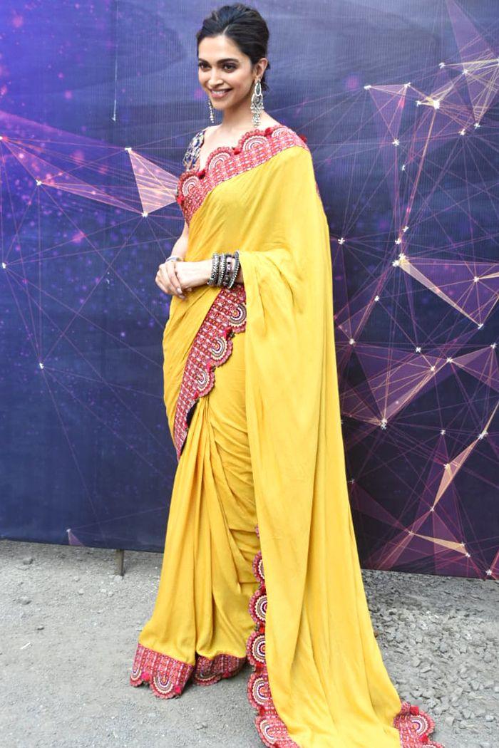 Deepika Padukone In Saree Deepika Padukone Yellow Saree Collection At Vogue India Saree Saree Designs Indian Designer Sarees