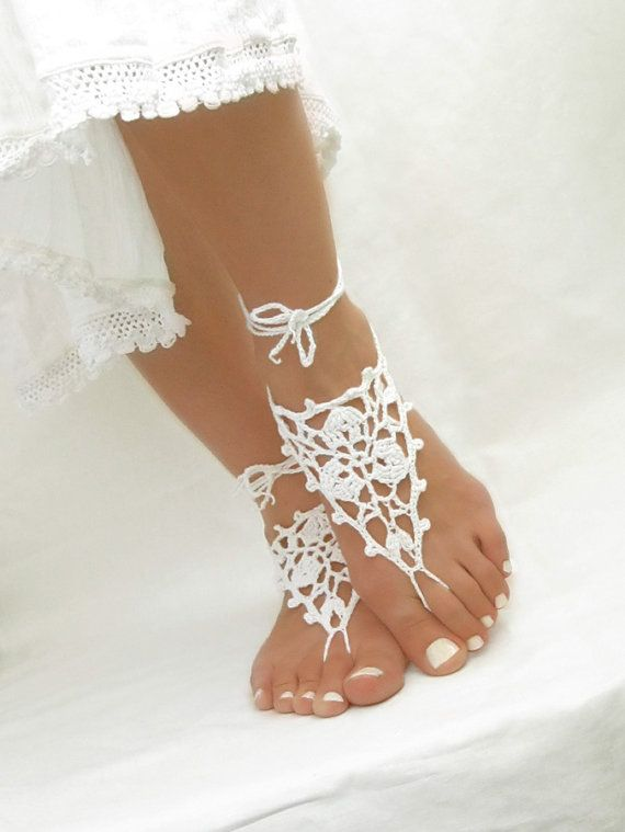 White Barefoot Sandals - Crochet Beach Sandles - Wedding Anklet Jewelry - Nude Shoes - Gift for Her - ready to ship $15