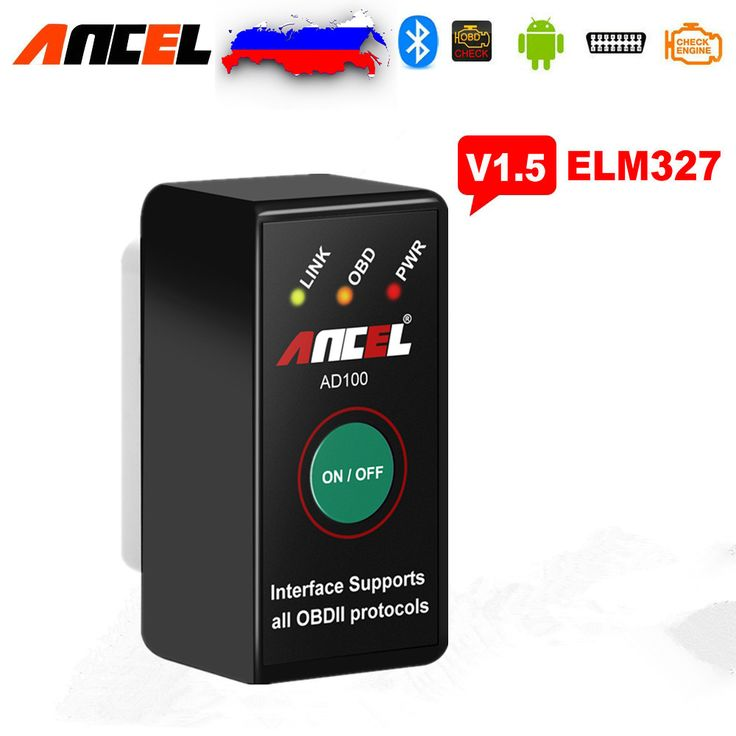 2017 ELM327 V1.5 Bluetooth ANCEL AD100 Kode OBD2 Reader Bluetooth Adapter untuk Android Torque Elm v1.5 25k80 PIC Chip 327 v 1.5