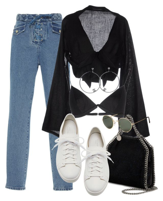 """Untitled #3465"" by camilae97 ❤ liked on Polyvore featuring Yohji Yamamoto, T By Alexander Wang, STELLA McCARTNEY, Santoni, Chanel and H&M"