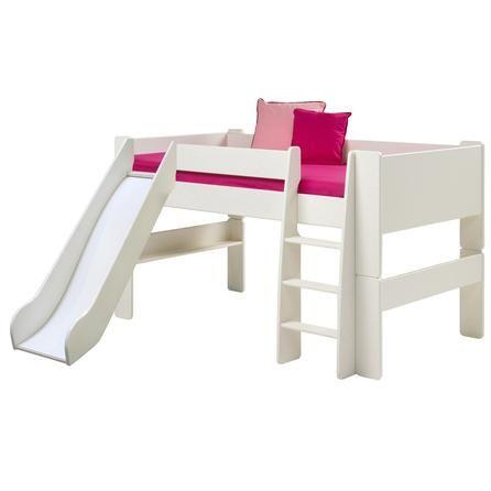 Kids Harper White Mid Sleeper Bed Frame with Slide | Dunelm
