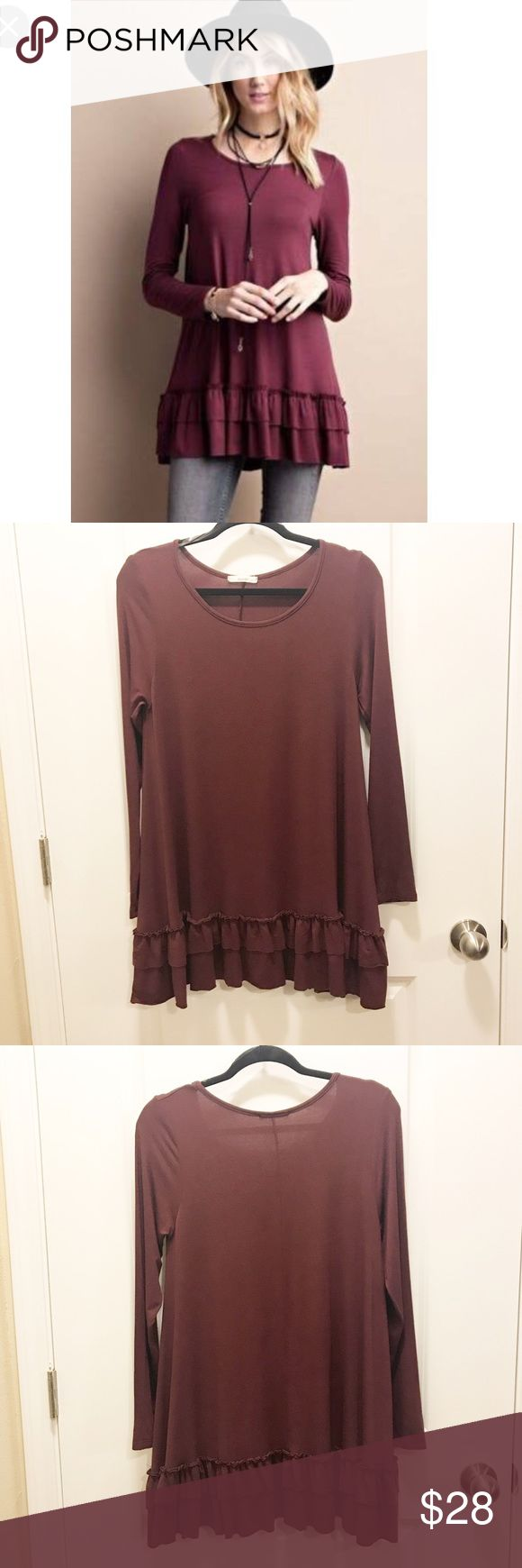 """Boho Chic easel Double Ruffle Tunic Deep Plum This is an easel double ruffle tunic in deep plum, long sleeves. Can be worn with leggings, tights, jeans, or stand alone. So cute! Fabric is 95% rayon, 5% spandex. Size medium.  Measurements:  Best: 17 """" Length: 22 """" Back length: 29 """" Sleeve length: 25.5 """" Shoulders (sleeve seam to seam): 15 """"  Thank you for looking. Please feel free to check out my closet. 🤙🏼 easel Dresses Mini"""