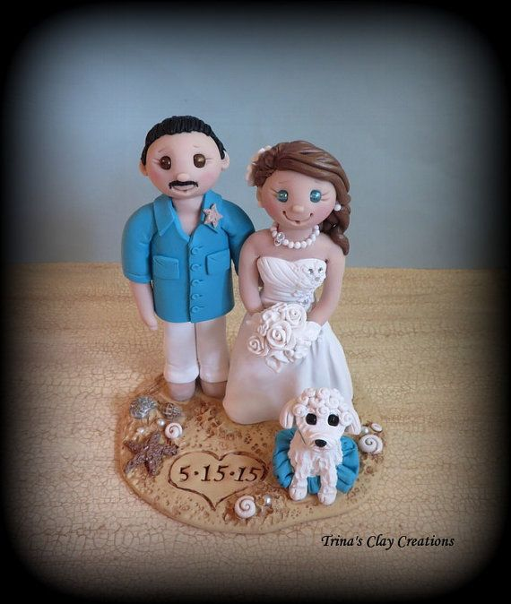 Wedding Cake Topper, Custom, Personalized, Beach Theme, Bride and Groom with Pet, Topper, Polymer Clay, Wedding or Anniversary Keepsake