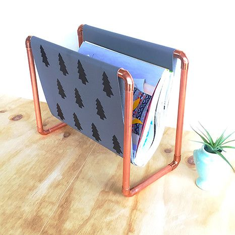 DIY Kit: Copper Magazine Rack -grey fabric with black nordic trees - scandi style bliss