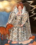 Elizabeth I showing her domains - Gondwanaland, hanging out with her australian dinosaur ozraptor