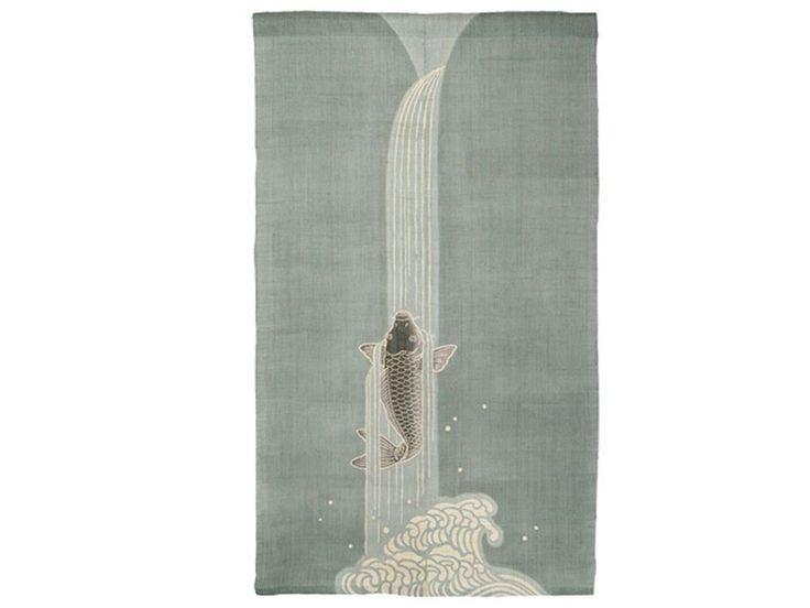 Japanese Koi Carp & Waterfall Noren: Designed By Rakushian of Kyoto #CarpClimbsWaterfall