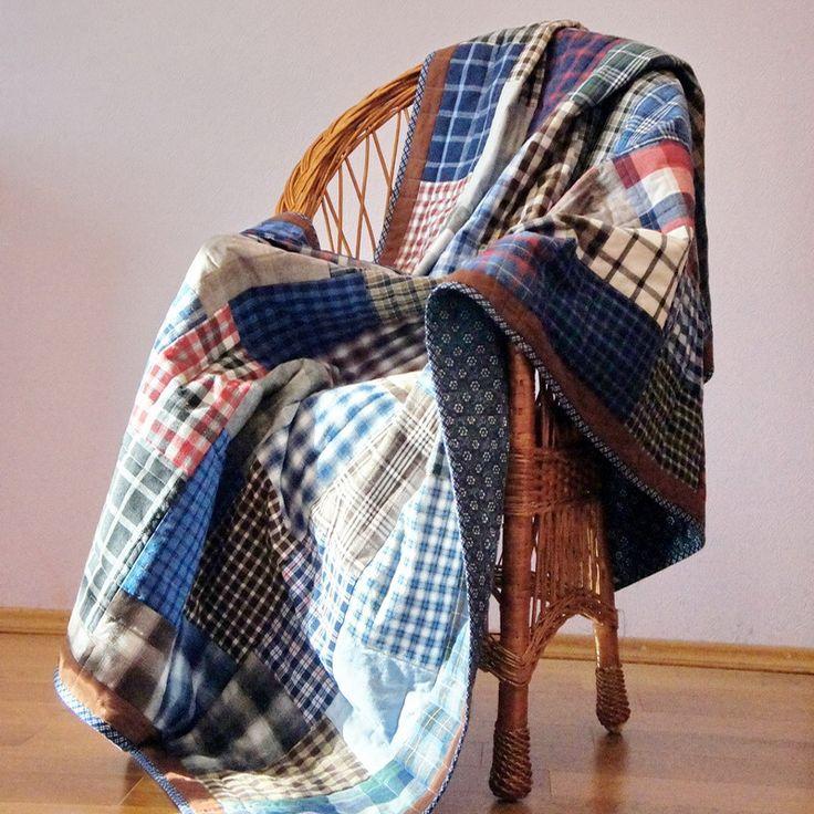 A great plaid quilt for a great man. Замечательный клетчатый плед  для замечательного мужчины  #plaid #plaid_quilt #man quilt #malequilt #men-quilt #лоскутный