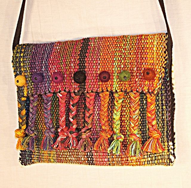 handwoven bag felt balls and braids clutch | Flickr - Photo Sharing!