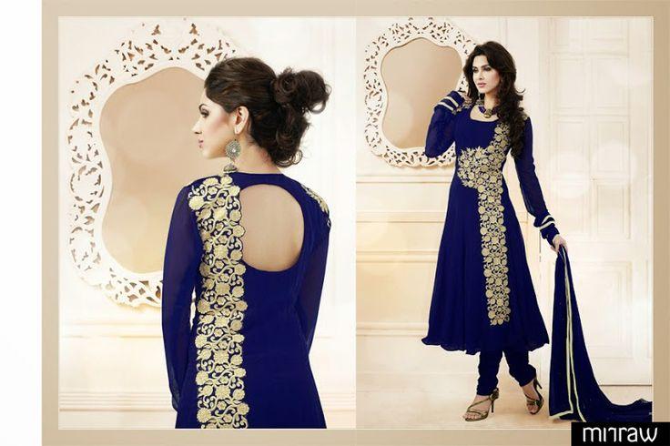 Latest blue colored Anarkali suit