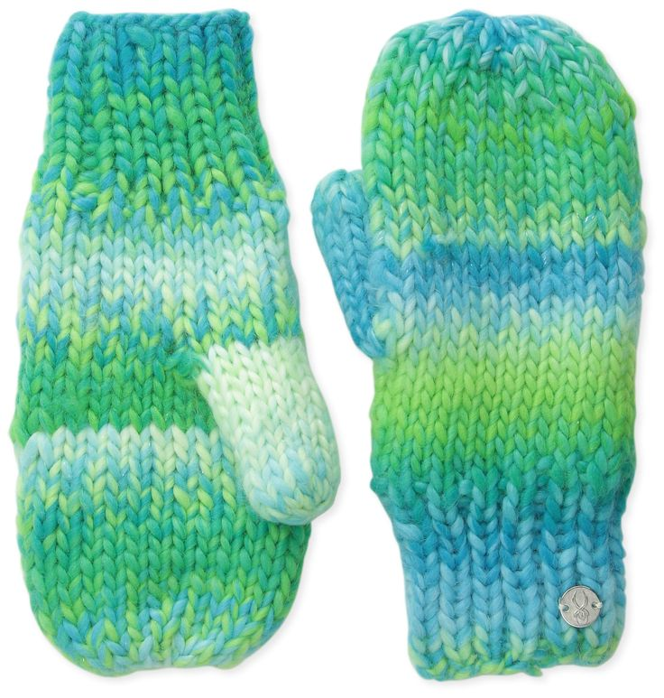Spyder Girls Twisty Mittens, One Size, Green Flash/Riviera/White. This product is Hand knit. Fully lined with fleece. Metal logo charm.