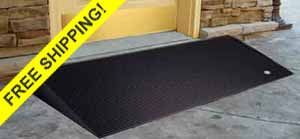 ADA Rubber Ramps for Door Thresholds, single steps, curbs and more.  For home or business use.   http://www.portable-wheelchair-ramps.com/threshold-ramps/rubber-threshold.aspx