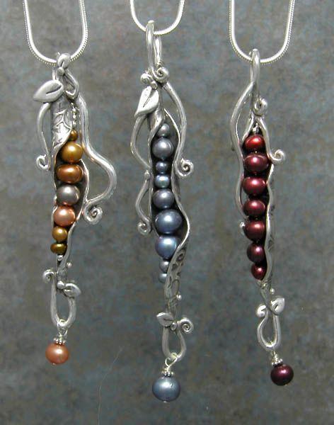 Silver Metal Clay Pea Pod Necklaces