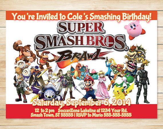 Nintendo Super Smash Bros Brawl Invitation by ApothecaryTables