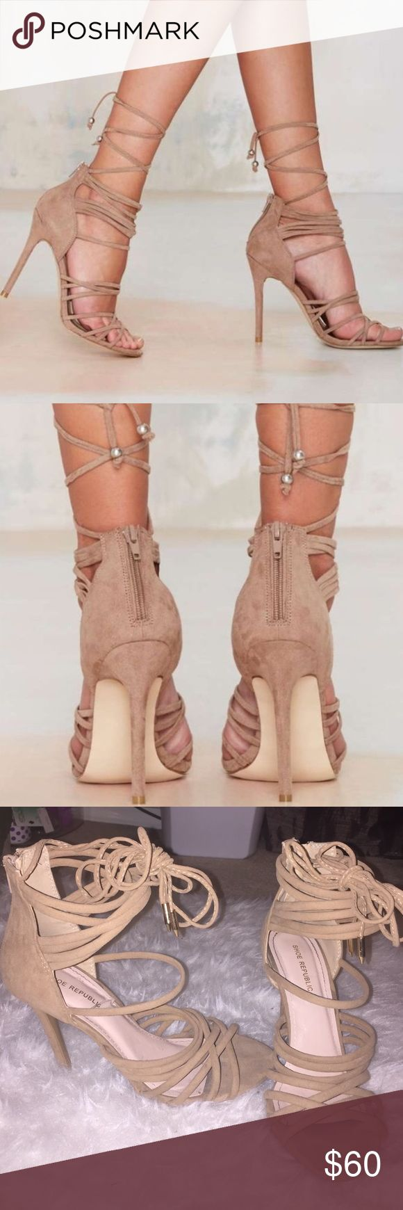 Suede Lace Up Heels Nast Gal look-a-likes. Straps are super long and can be laced up as shown in picture. Only wore once, only flaw is shown in the last picture. Not from listed brand.   ❌ I DO NOT TRADE ❌ IF YOU HAVE A REASONABLE OFFER MAKE IT THROUGH THE OFFER BUTTON ❌ SOLD CHEAPER THROUGH MERC ❌ I SHIP SAME IF NOT NEXT DAY (DEPENDING ON WHAT TIME YOU MAKE THE PURCHASE) ❌ IF YOU SEE THIS ITEM PRICED LOWER SOMEWHERE ELSE GO BUY IT AND STAY OFF MY COMMENTS  ❌ HAPPY POSHING  Nasty Gal Shoes…