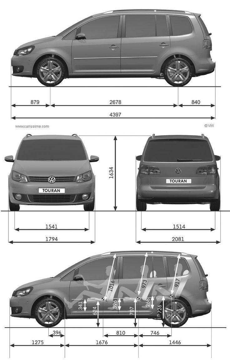 Volkswagen Touran restylage 2010 : Fiche Technique dimensions
