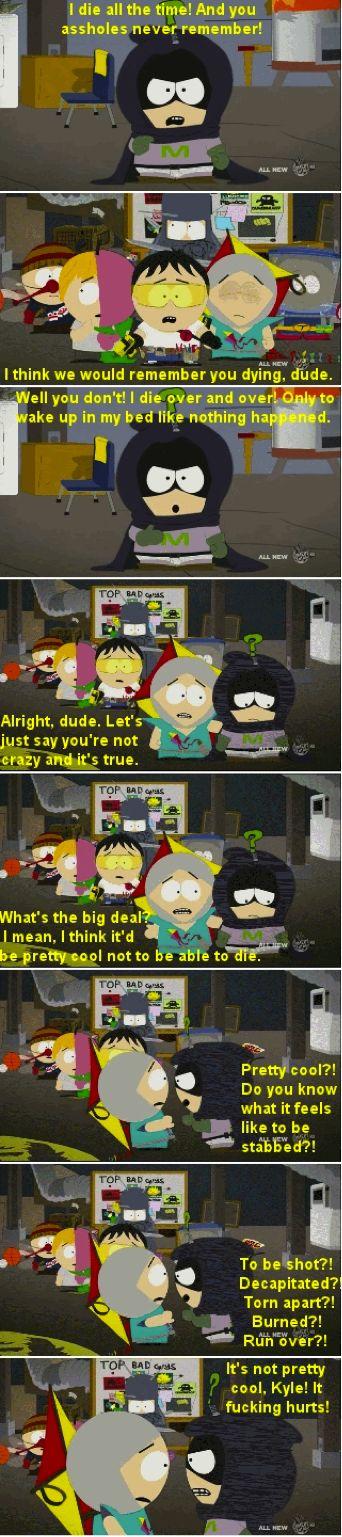 South Park Mysterion death Kyle Stan