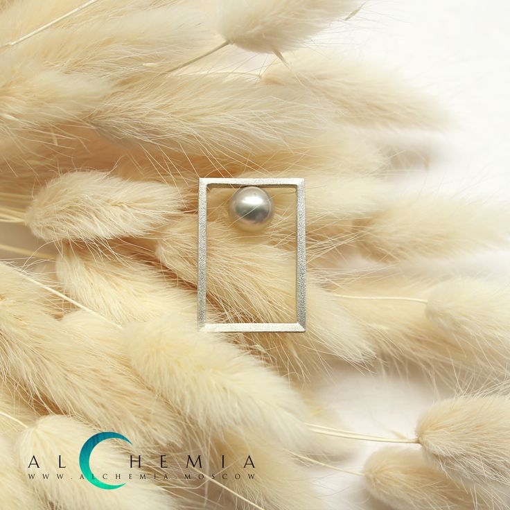 The Drop ring 2. Silver, pearl. Handmade by Alchemia Jewellery