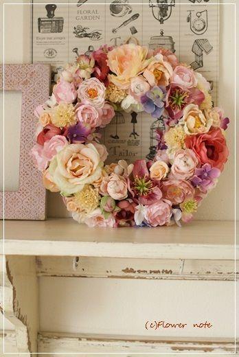 【今日の贈花】結婚祝は大人可愛い♪フラワーリースで Flower note の 花日記