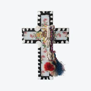 • Mixed medium decorative cross • Approximately 22x30cm • #ahoytrader by Jai Vasicek. Available from Salt Living